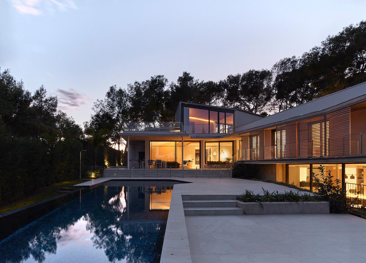 casa de campo vista nocturna